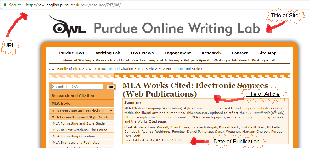 how to cite a website